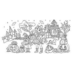 cartoon halloween sisters in costumes vector image