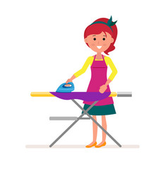Cartoon housekeeper or servant housewife ironing vector