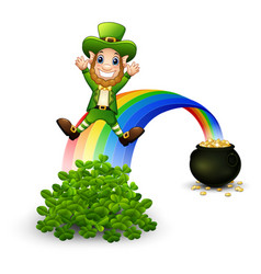cartoon leprechaun sliding down the rainbow vector image