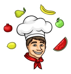 Cartoon young chef in toque with fresh fruits vector