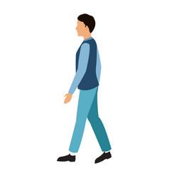 Character man walking blue clothes vector