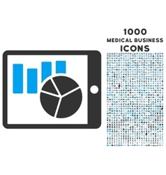Charts on Pda Icon with 1000 Medical Business vector