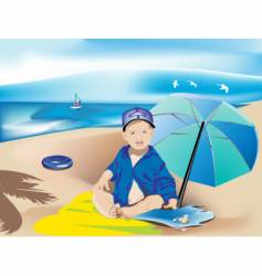 child on the beach vector image