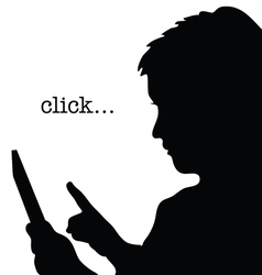 child with tablet click silhouette vector image