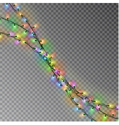 christmas color lights string transparent effect vector image