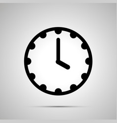 Clock face showing 4-00 simple black icon on vector