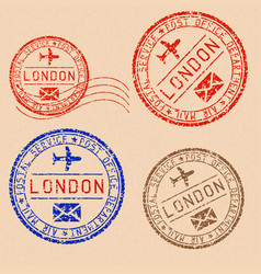 Collection london postal stamps partially faded vector