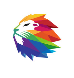 Colorful creative lion head logo vector