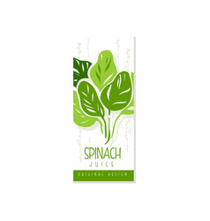 Creative hand drawn label with green leaves of vector