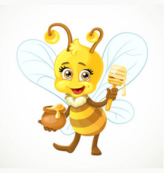 cute bee with a clay pot full honey and wooden vector image