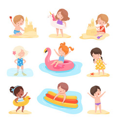 cute boys and girls playing on beach and vector image