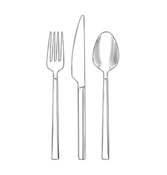 Cutlery set of fork knife and spoon vector