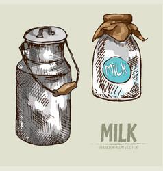 Digital detailed line art milk packed vector