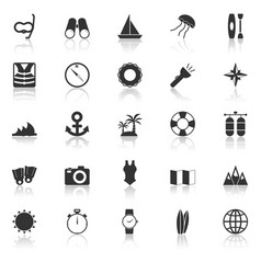 Diving icons with reflect on white background vector