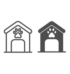 Dog house line and glyph icon dog box with paw vector