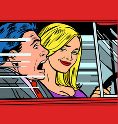 female driver and male passenger vector image