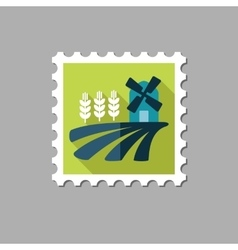 Field with a mill and wheat flat stamp vector image