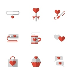Flat color love relationship icons vector