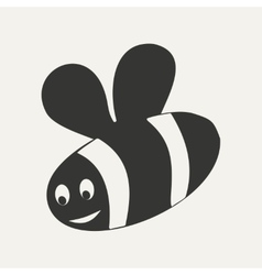 Flat in black and white mobile application bee vector