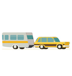 Flat yellow car pulling trailer vector