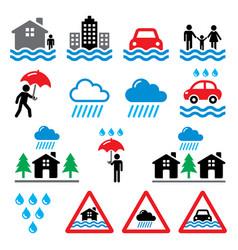 flood natural disaster heavy rain icons set - en vector image