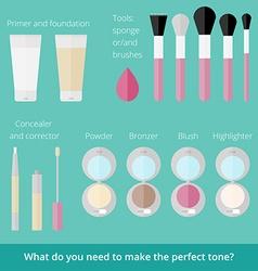 Ftat set of makeup products vector