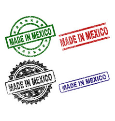 grunge textured made in mexico stamp seals vector image