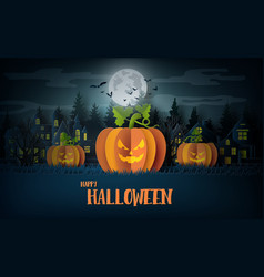 halloween party with scary pumpkins vector image