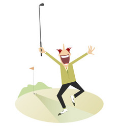 happy golfer on the golf course isolated vector image