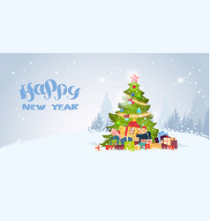 happy new year background with decorated christmas vector image