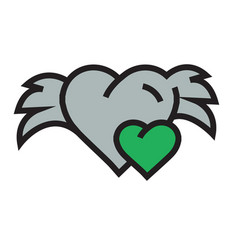 Hearts mini with wings green vector