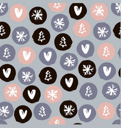 Holiday seamless pattern with hearts snowflakes vector
