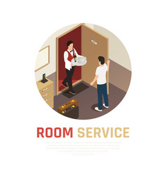 Hotel service isometric composition vector