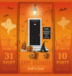 Invitation card for a halloween night party vector