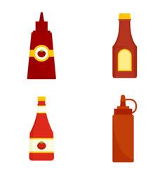 ketchup icon set flat style vector image