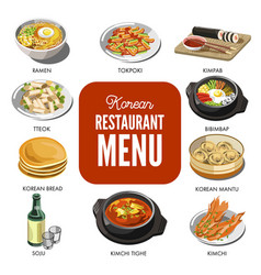 Korean cuisine traditional dishes flat vector