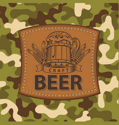 Label for craft beer on camouflage background vector