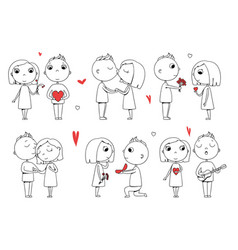 love couple male and female doodle stylized vector image