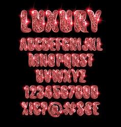 Luxury gold red alphabet vector