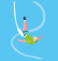 Man practicing bungee jumping sport extreme vector
