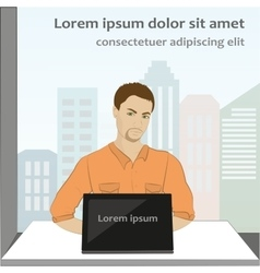 man sitting on computer vector image