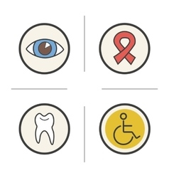 Medical color icons set vector