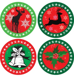 merry xmas stamps vector image