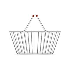 Metallic Shopping Basket Empty Realistic Pictogram vector