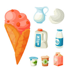 milk dairy products flat style breakfast vector image