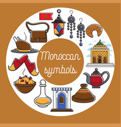 Moroccan symbols promo poster with country vector