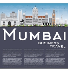 Mumbai Skyline with Gray Landmarks vector