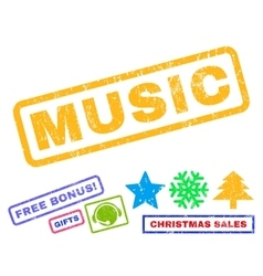 Music Rubber Stamp vector