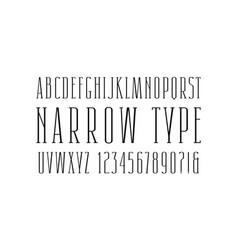 Narrow serif font thin line typeface vector