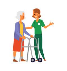 Nursing home nurse taking care senior lady flat vector